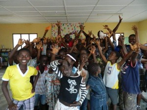 The orphans with the Patriots and Ghana Think team after the reading clinic -- Full of Excitement
