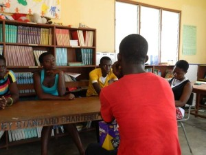 National Coordinator Eric Opoku Agyemang provides counseling for orphans